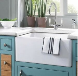 24 inch kitchen sink drawer cabinet fireclay farmhouse apron white new in box image is loading 034