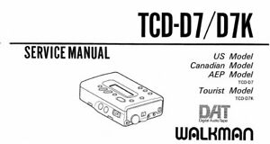 SONY TCD-D7 SERVICE MANUAL BOOK INC SCHEMS IN ENGLISH