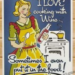 Vintage Posters For Kitchen Stainless Steel Tables I Love Cooking With Wine Tin Sign Metal Poster Funny Details About Decor 1891