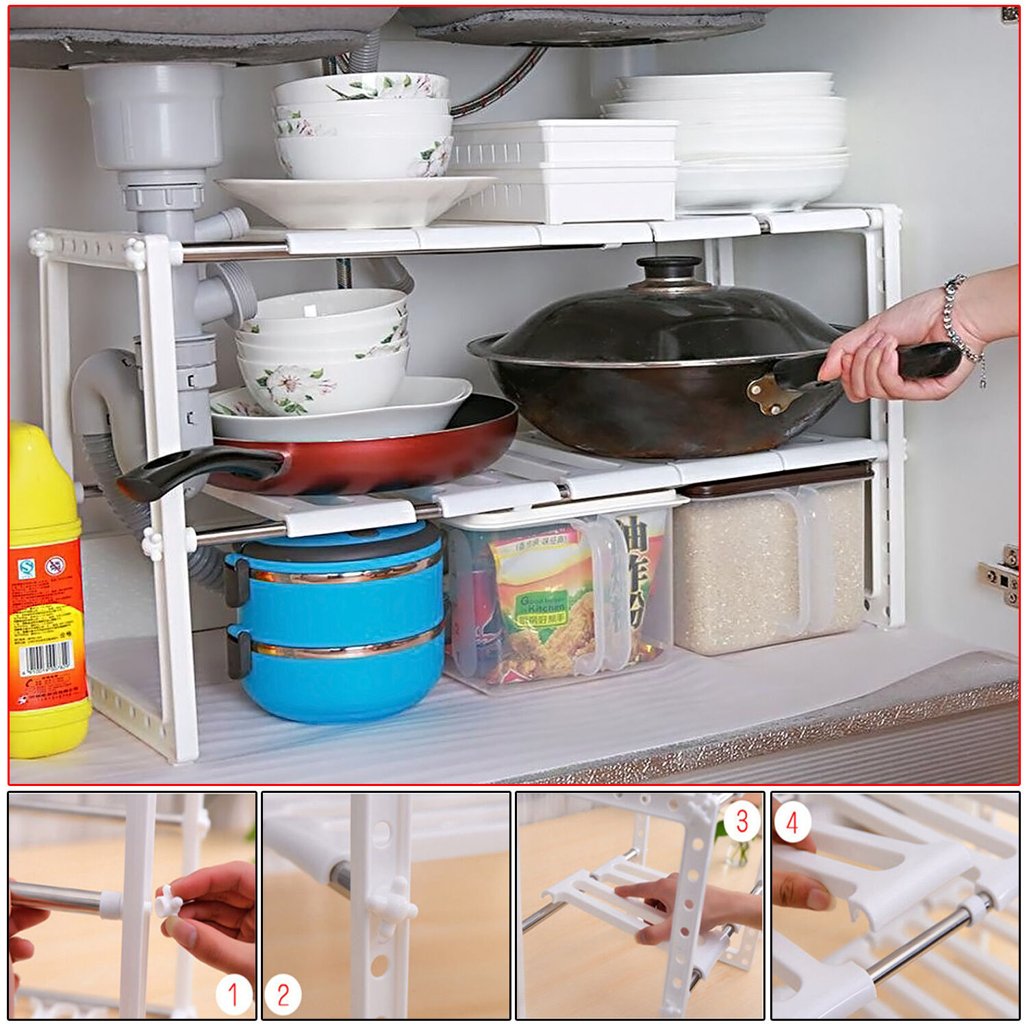2 TIER MICROWAVE OVEN STORAGE EXPANDABLE RACK SHELF SPACE