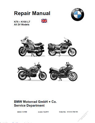 BMW K100 & K75 Service Repair Manual PDF on CD 1983-1984