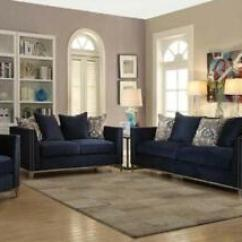 Sofa Blue Color Mid Century Bed Canada Living Room Furniture Contemporary Nail Head Trim Navy Details About 2pc Set