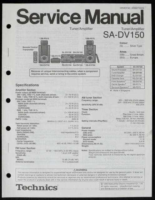 Technics SA-DV150 Original Tuner/Amplifier Service Manual