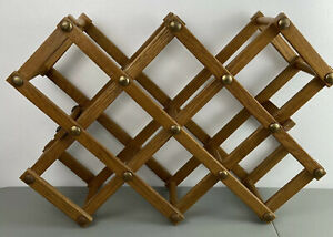 details about vintage wooden folding accordion wine rack 8 10 bottles heavy weight wood
