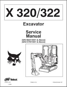Bobcat X320 / X322 Compact Excavator Service Manual on a