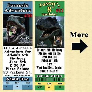 details about jurassic world jurassic park birthday invitation or thank you card personalize