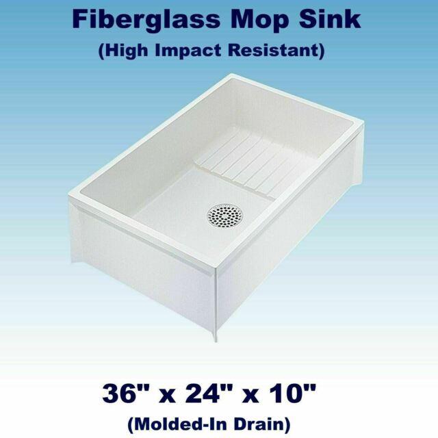 mop sink service basin white single bowl floor mount center drain 36 x 24 x 10in