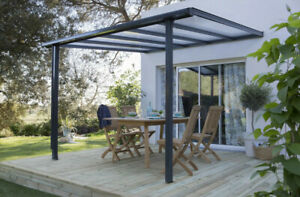 details sur pergola toit terrasse en aluminium gris anthracite de 9 m2 etat neuf