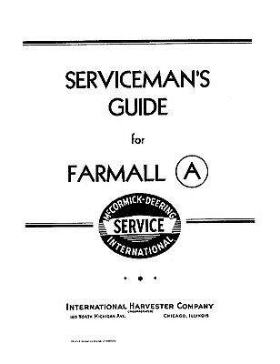 International IH FARMALL Model A Servicemans Shop Service