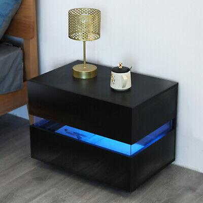 table de chevet table de nuit 2 tiroirs avec eclairage led noir haute brillance ebay