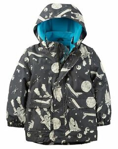 New Carter's Space Theme Hooded Raincoat size 2T 5 6 NWT Boys Jacket