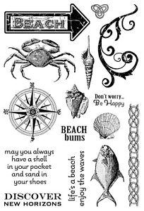 Ocean Nautical BEACH Set Cling Unmounted Rubber Stamp Set