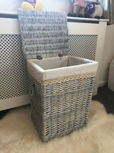 Large Grey Wicker Laundry Basket Rattan Storage Solution Shabby Chic Rustic Ebay