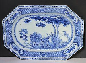 18th c Antique Chinese Export Blue & White Porcelain Tray Platter Flower Garden