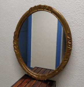 details sur ancien miroir ovale en bois dore et stuc decors sculptes style montparnasse