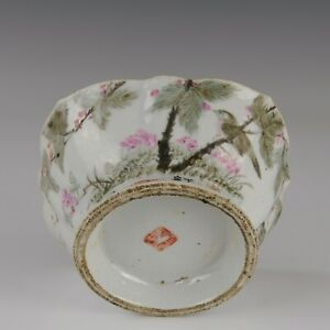 Nice Chinese polychrome porcelain bowl, Qianjiang cai,birds on a branch 19th ct.