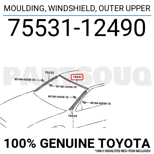7553112490 Genuine Toyota MOULDING, WINDSHIELD, OUTER