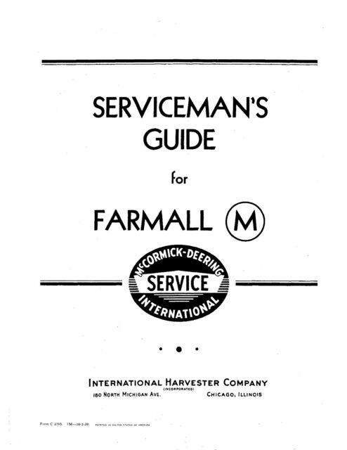 IH FARMALL M TRACTOR SERVICE GUIDE 1939-1947 29 pgs pdf