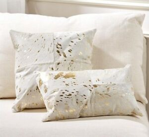 details about natural torino cowhide throw pillow white gold 18 x 18
