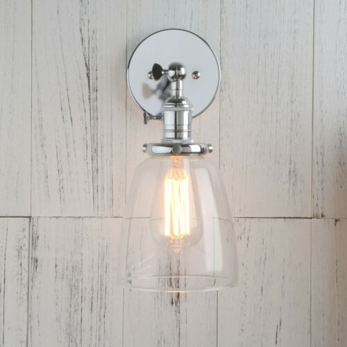 retro wall sconce light clear glass shade bedroom e27 switch iron wall lamp