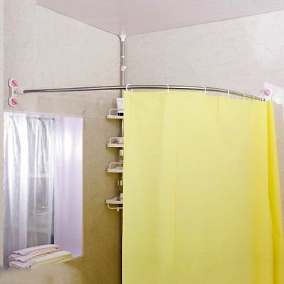 curved shower curtain rod suction cup