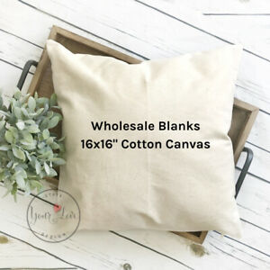 details about 16x16 wholesale blank 10 oz cotton canvas throw pillow cover natural or white