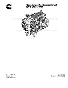 Cummins Operation and Maintenance Manual ISX15 CM2350 X101
