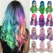 rainbow wigs women long wavy curly