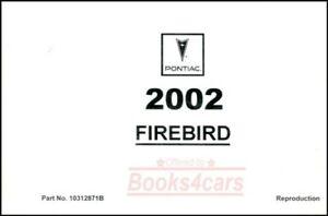 FIREBIRD PONTIAC 2002 TRANS AM OWNERS MANUAL OWNER'S BOOK