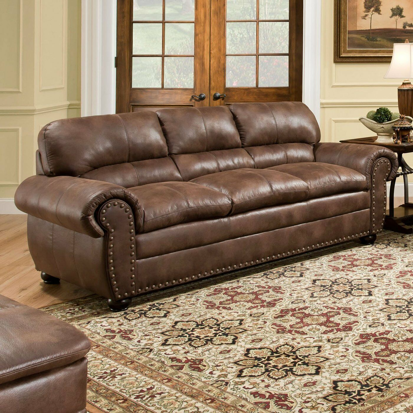 Brown Leather Sofa Modern Couch Loveseat Contemporary Faux Furniture Nailhead