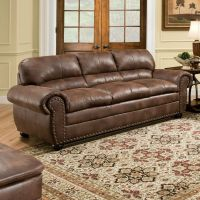 Brown Leather Sofa Modern Couch Loveseat Contemporary Faux ...