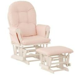 Rocker Glider Chair Ikea Cover Nursery Baby Furniture Ottoman Set Pink White Image Is Loading