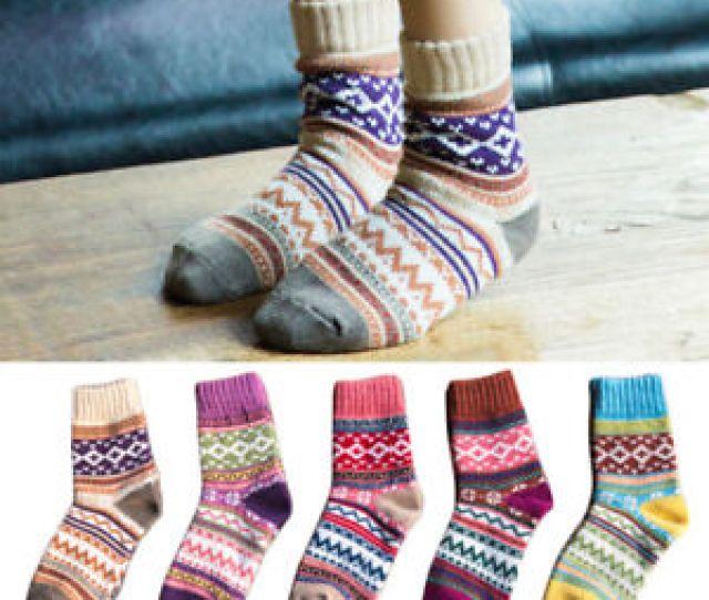 Image Is Loading Unisex Women Retro Cotton Tube Socks Knit Warm