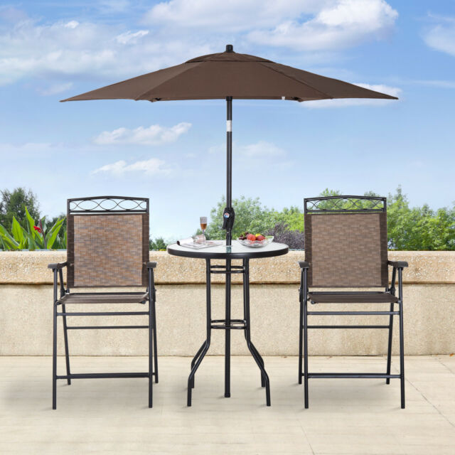 outsunny 4pc steel folding dining table set w umbrella outdoor patio furniture