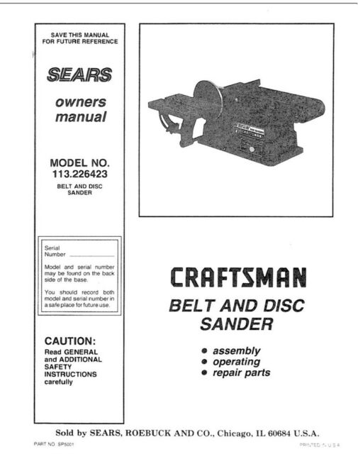 Craftsman 113.226423 Belt & Disc Sander Owners Instruction
