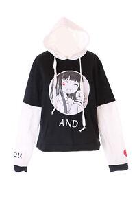 details sur ts 181 1 noir blanc manga fille pastel gothique lolita pull sweat a capuche