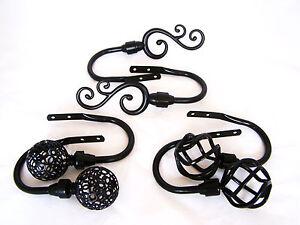details about matt black metal curtain tiebacks hold backs twist cage ball leaf floral swirl