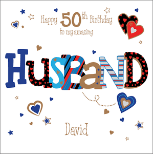Personalised 50th Birthday Card Husband Boyfriend Any AgeNamemessage EBay