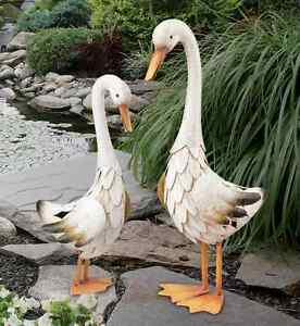 duck pair statues handcrafted metal
