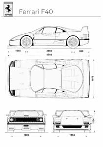 Ferrari Blueprint : ferrari, blueprint, Ferrari, Blueprint, Poster, Print, Decor