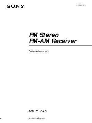 Sony STR-DA777ES AV Receiver Owners Manual Printed or PDF