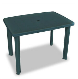 Green Plastic Garden Table Outdoor Patio Dining Camping Furniture Rectangular 759548951601 Ebay
