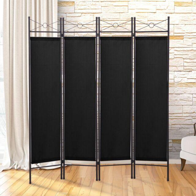 6ft 4 panel room divider foldable privacy screen metal frame freestanding black