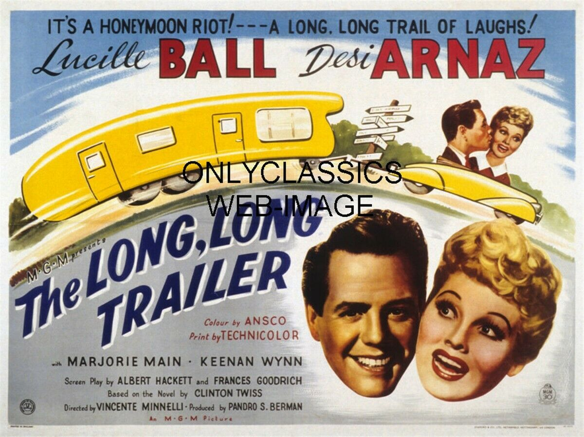1953 the long long trailer movie poster vacation camper lucille ball desi arnaz