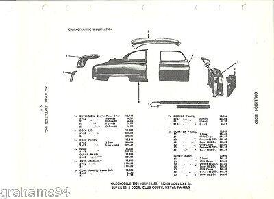 1951 52 53 Oldsmobile Super Deluxe 88 Coupe Two Door Body