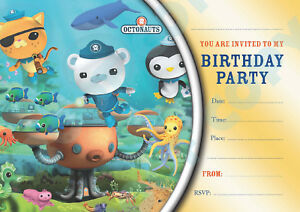 details about 80 octonauts pack of 10 kids children birthday party invitations