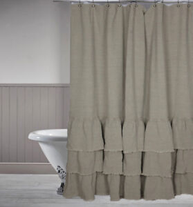 details about washed 100 linen shower curtain ruffle 72x72 inch bath farm decor beige ivory