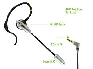 3.5mm Flexible Over-the-Ear Boom Mic Handsfree Headset for