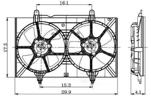 Auxiliary Fan Assembly For 2004-2009 Nissan Quest 3.5L V6