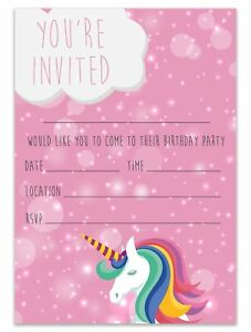 details about unicorn theme party invites birthday party invitations children pink girls